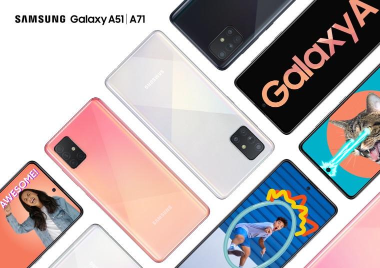 סמסונג הכריזה על Galaxy A51 ו- Galaxy A71 מכשירים לשוק הביניים