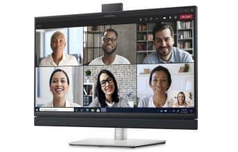דל משיקה סדרת מסכים עם מצלמה קופצת ורמקולים המותאמים לשיחות ועידה