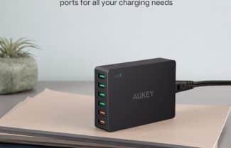 מפצל 6 שקעי USB כולל טעינה מהירה מבית AUKEY במחיר מבצע!