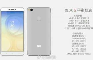 נחשף ה-Xiaomi Redmi 5, כולל מפרט, תמונות ומחירים משוערים